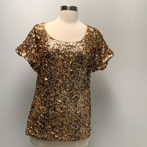 ⭐️INC gold sequin key hole back holiday top